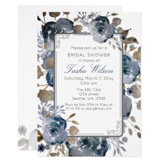 Cartão Chá de panela botânico floral do ouro azul do