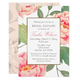 Cartão Chá de panela botânico floral do rosa e do ouro