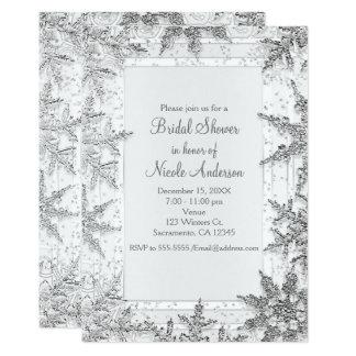 Cartão Chá de panela branco & de prata dos flocos de neve