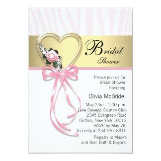 Cartão Chá de panela cor-de-rosa da zebra do ouro do