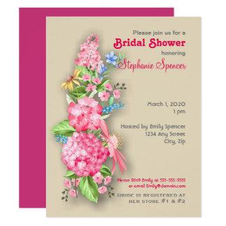 Cartão Chá de panela cor-de-rosa do buquê do Wildflower