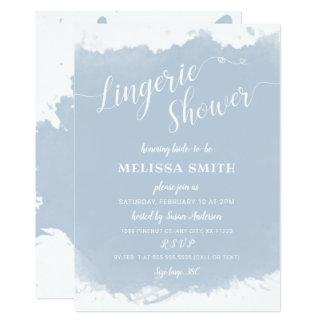 Cartão Chá de panela da lingerie, aguarela azul