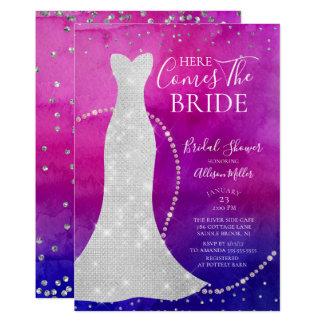 Cartão Chá de panela da noiva da aguarela