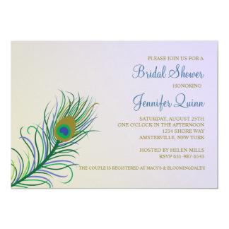 Cartão Chá de panela da pena do pavão