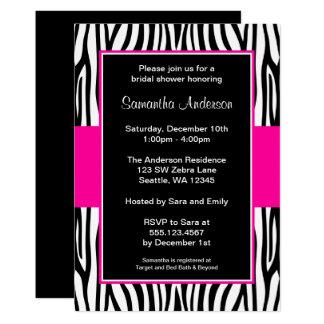 Cartão Chá de panela da zebra do rosa quente
