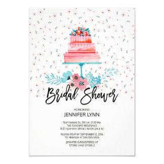 Cartão Chá de panela do bolo do rosa da aguarela