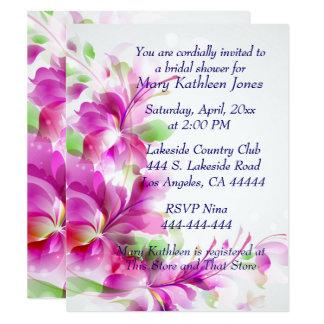Cartão Chá de panela do design floral de A2-Pink