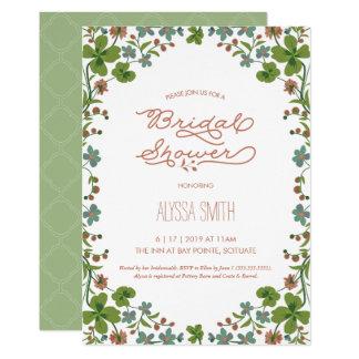 Cartão Chá de panela do estilo do vintage - floral