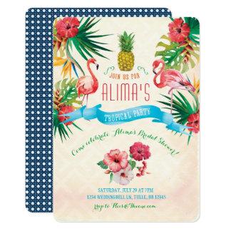 Cartão Chá de panela do flamingo