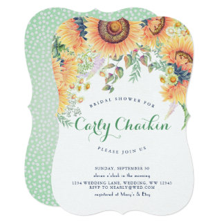 Cartão Chá de panela do girassol