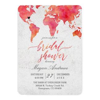 Cartão Chá de panela do mapa do mundo da aguarela
