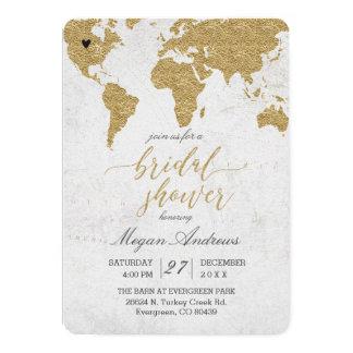 Cartão Chá de panela do mapa do mundo da folha de ouro