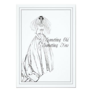 Cartão Chá de panela do vestido de casamento vintage algo