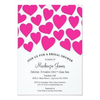 Cartão Chá de panela dos corações do rosa quente lunático