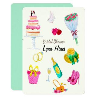 Cartão Chá de panela dos elementos do casamento