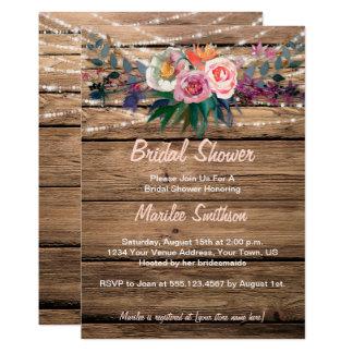 Cartão Chá de panela dos Wildflowers da queda da aguarela