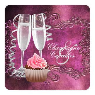 Cartão Chá de panela elegante de Champagne e de cupcake