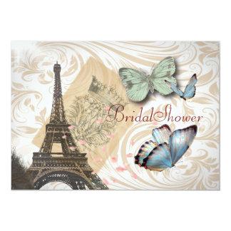 Cartão Chá de panela elegante do vintage da borboleta de