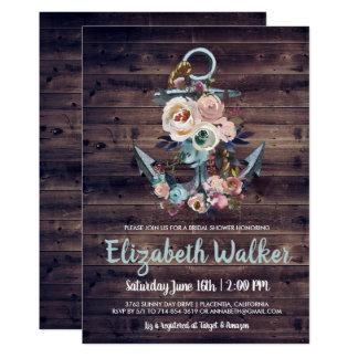 Cartão Chá de panela elegante floral rústico da âncora |