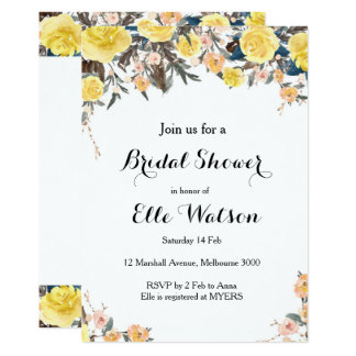 Cartão Chá de panela floral amarelo
