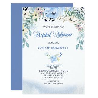 Cartão Chá de panela floral azul da aguarela