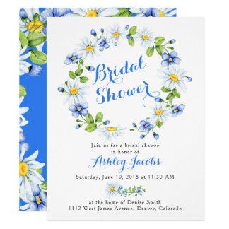 Cartão Chá de panela floral azul da margarida branca
