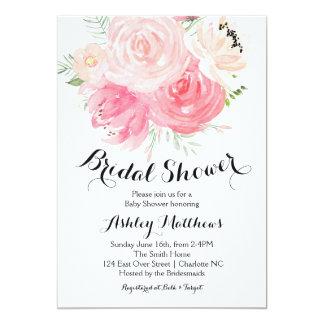 Cartão chá de panela floral branco e roxo