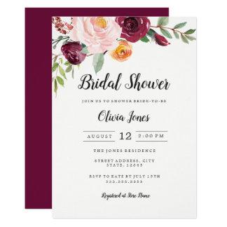 Cartão Chá de panela floral cor-de-rosa de Borgonha
