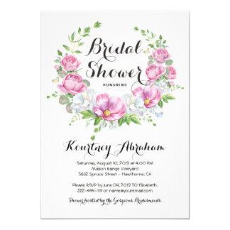 Cartão Chá de panela floral cor-de-rosa elegante da