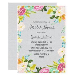 Cartão Chá de panela floral da aguarela