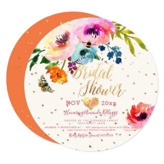 Cartão Chá de panela floral da aguarela de PixDezines