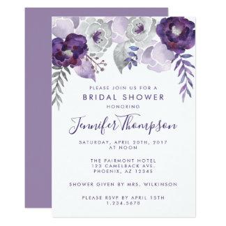 Cartão Chá de panela floral da aguarela roxa e de prata