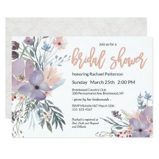 Cartão Chá de panela floral da aguarela violeta do prado