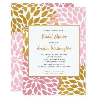 Cartão Chá de panela floral da dália cor-de-rosa do ouro