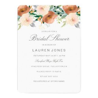 Cartão Chá de panela floral da flor do pêssego