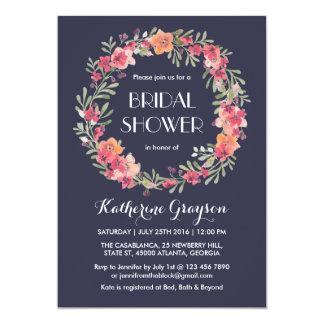 Cartão Chá de panela floral da grinalda dos azuis