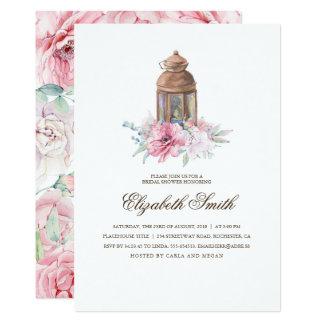 Cartão Chá de panela floral da lanterna
