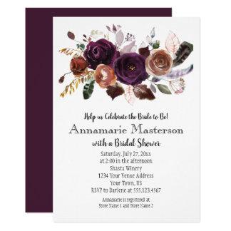 Cartão Chá de panela floral da oxidação roxa escura de