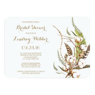 Cartão Chá de panela floral da pena do algodão rústico