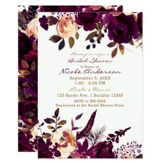 Cartão Chá de panela floral da queda do marrom do Bordéus