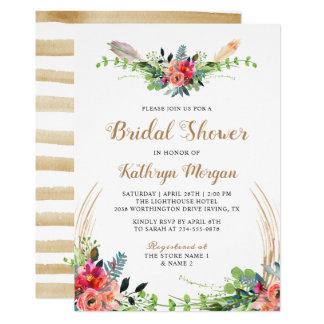 Cartão Chá de panela floral da seta da aguarela do país