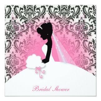 Cartão chá de panela floral da silhueta da noiva do
