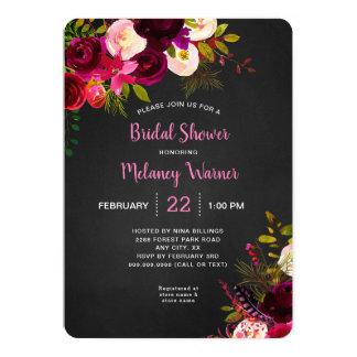 Cartão Chá de panela floral de Borgonha do quadro rústico