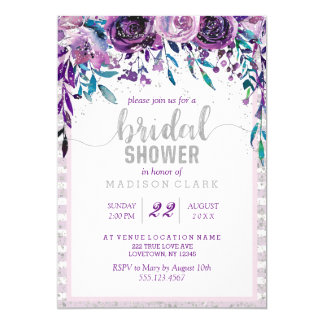Cartão Chá de panela floral & de prata roxo