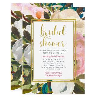Cartão Chá de panela floral delicado da aguarela  