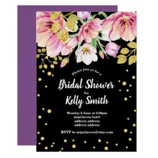 Cartão chá de panela floral do brilho, ouro