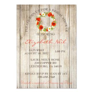 Cartão Chá de panela floral do fundo de madeira rústico