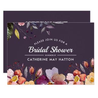 Cartão Chá de panela floral do outono da ameixa