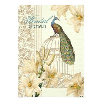 Cartão chá de panela floral do pavão do lírio elegante do