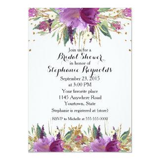 Cartão Chá de panela floral do primavera Amethyst